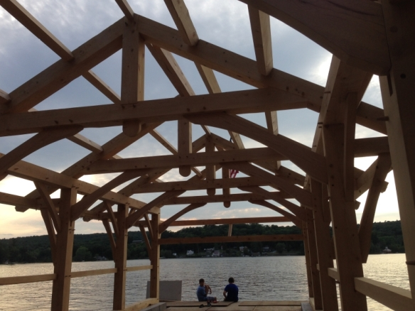 Purlins in custom boat house timber frames of custom boat house_Green Mountain Timber Frames_Luke Larson