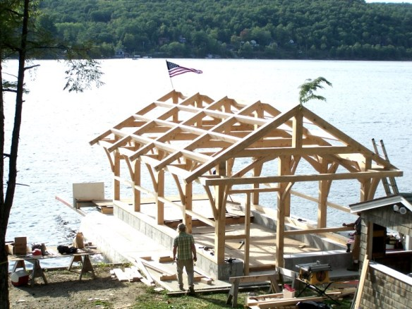 aerial view of timber frame boat house_Green Mountain Timber Frames_Luke Larson