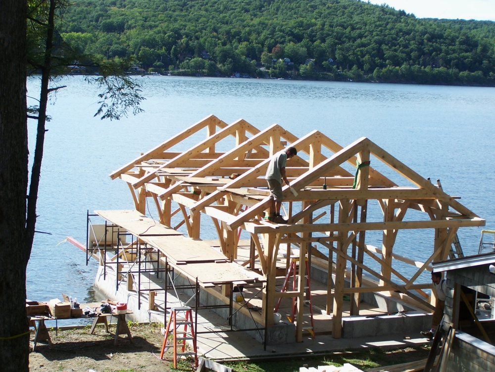 Timber Frame Boat House_Green Mountain Timber Frames_Luke Larson