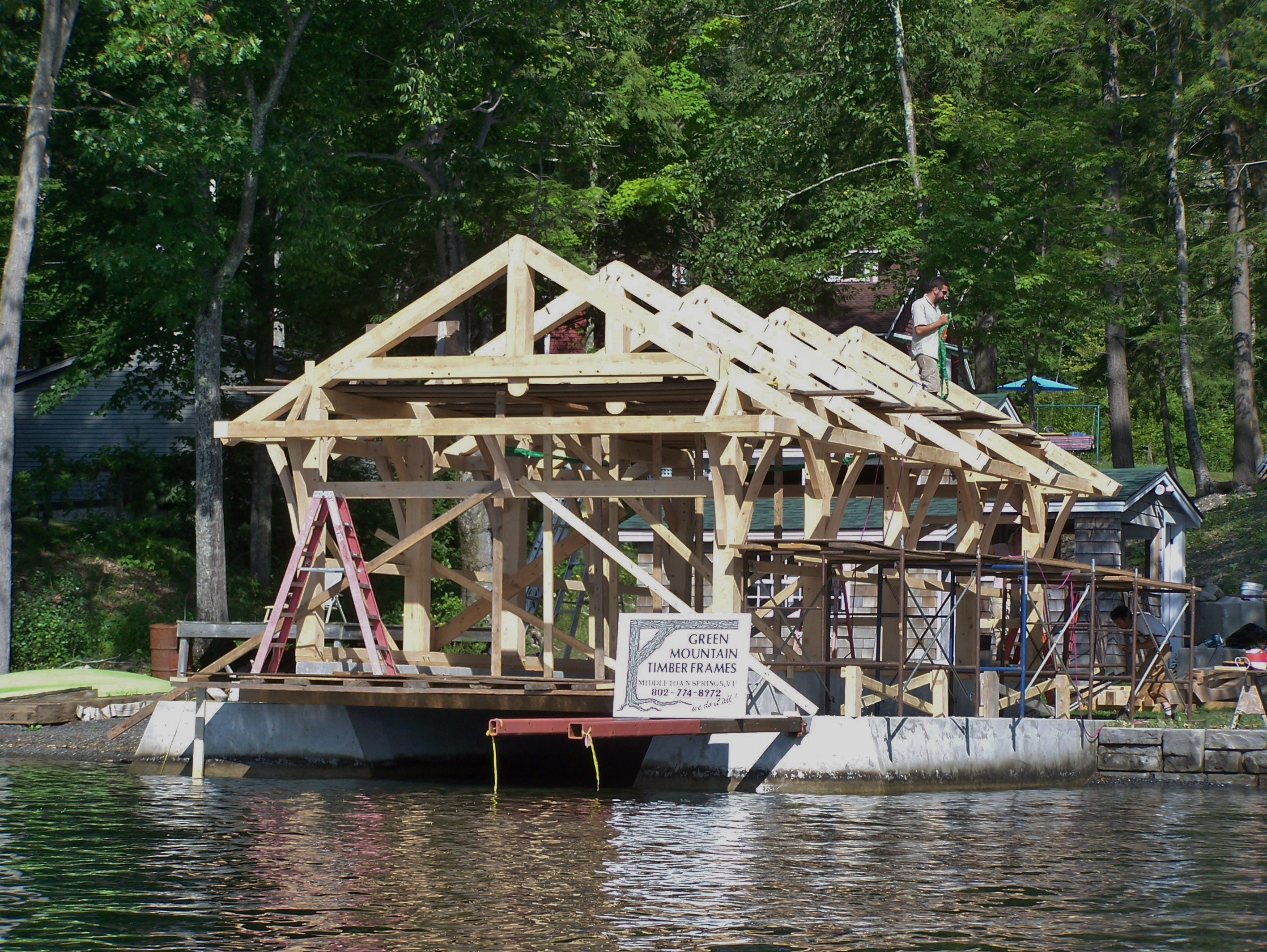 Timber Frame Custom Boat House Green Mountain Timber Frames