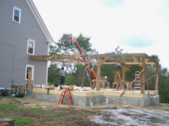 Erecting restored timber frame_Green Mountain Timber Frames_Vermont_Day1