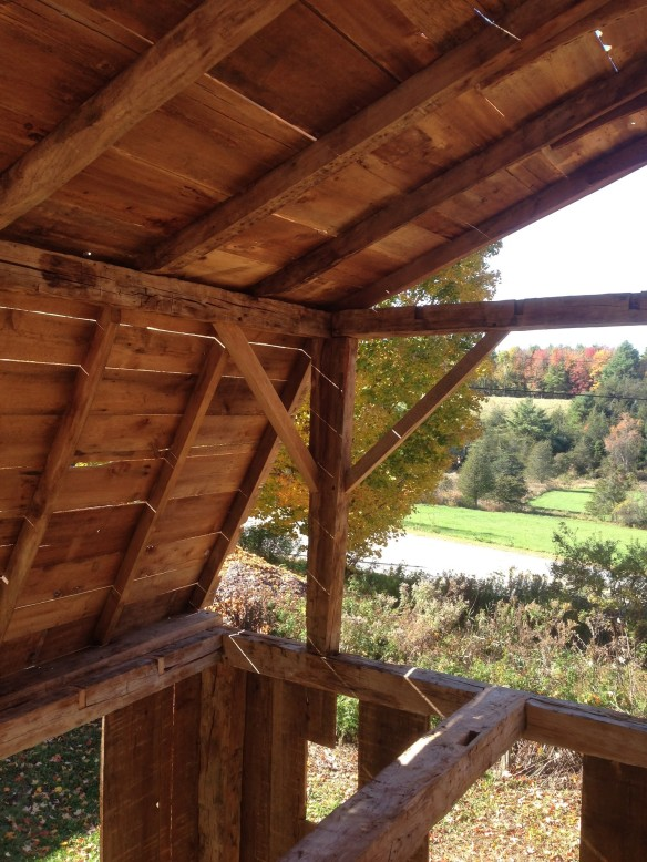 11_Inside view of Gambrel Roof_Green Mountain Timber Frame_Larson Farm
