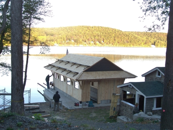 Boat house completed with siding_Green Mountain Timber Frames_Luke Larson