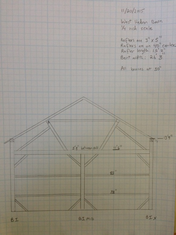 Labeling System_scaled drawing of one cross section_1840s timber frame_Green Mountain Timber Frames