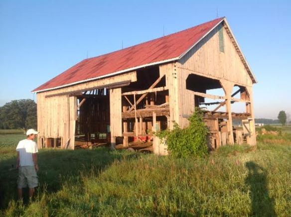 "1_""34'x46' hand hewn, hardwood timbered barn frame"""