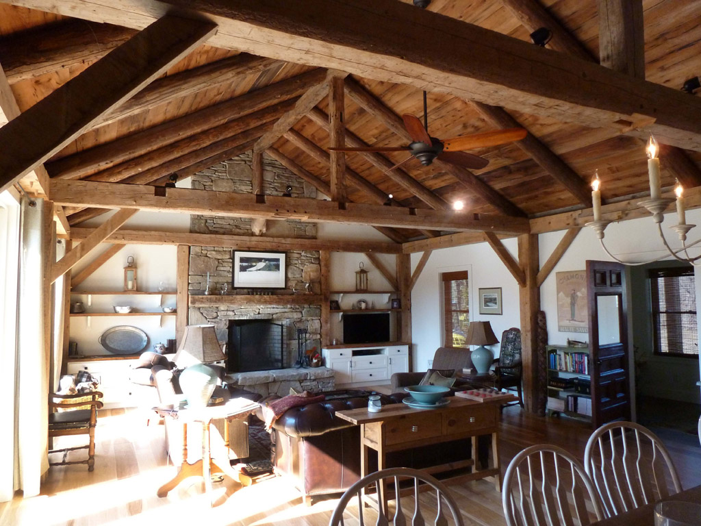 Antique timber frame great room green mountain timber for Timber frame great room