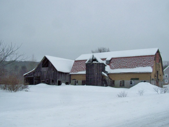 Vermont timber frame in winter_Green Mountain Timber frames