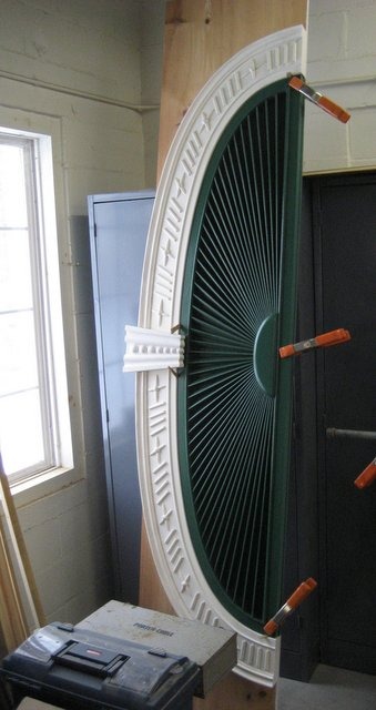 Restored fan over entry Hodsdon house green mountain timber frames