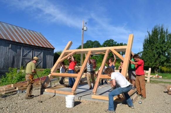 Green mountain timber frames frame raising