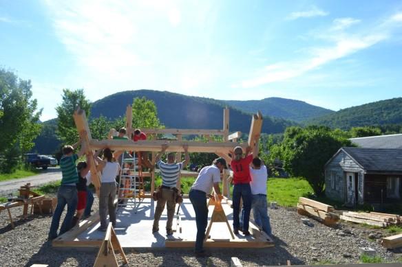 tipping up a timber frame bent green mountain timber frames