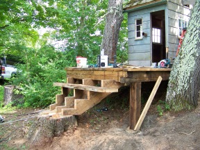 creating stairs and stump for wooden barn playhouse
