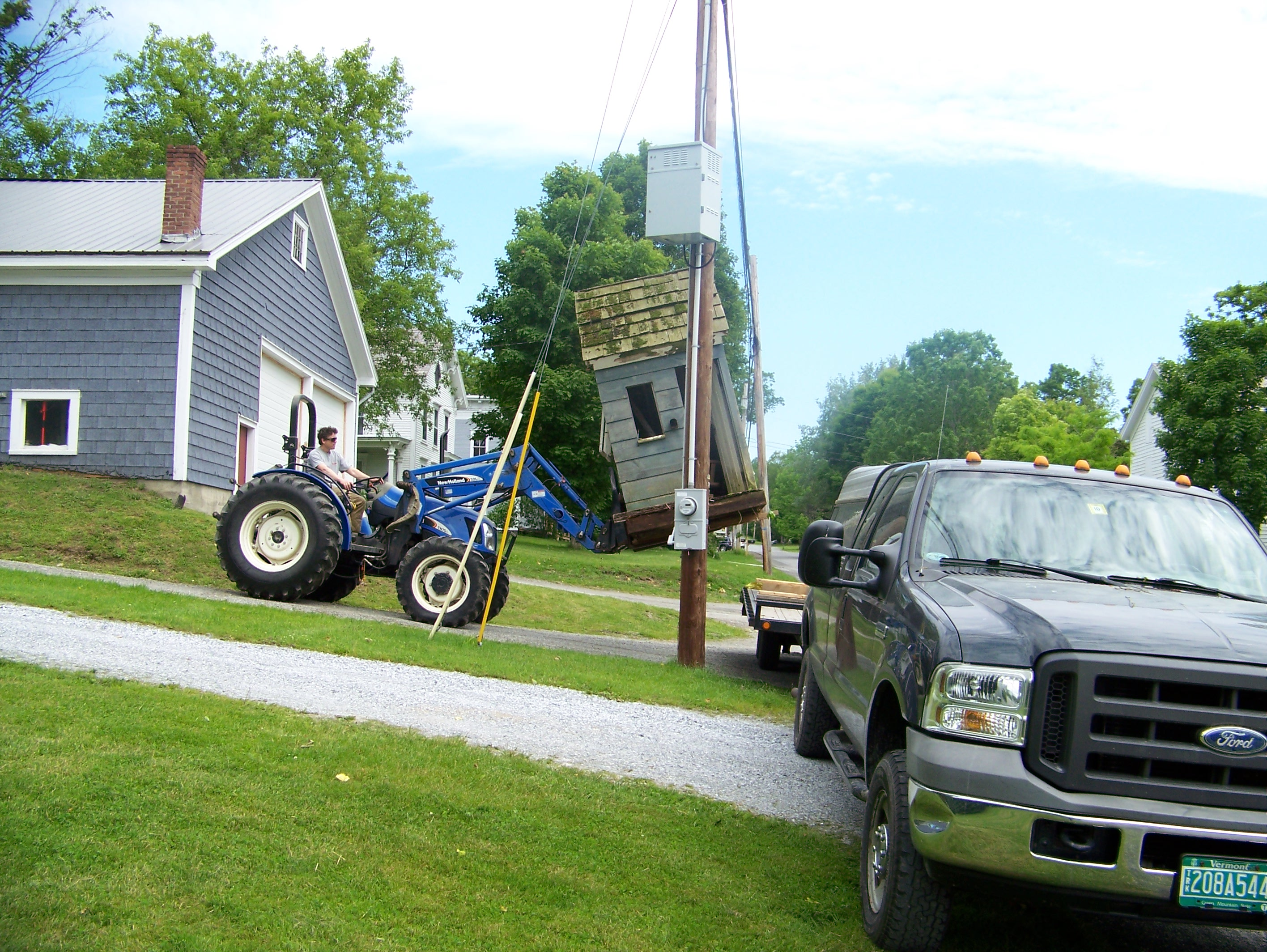 playhouse arriving for restoration at green mountain timber frames.jpg