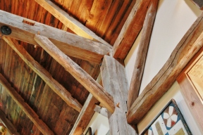 Beam inside Steven Kellogg Timber Frame Home