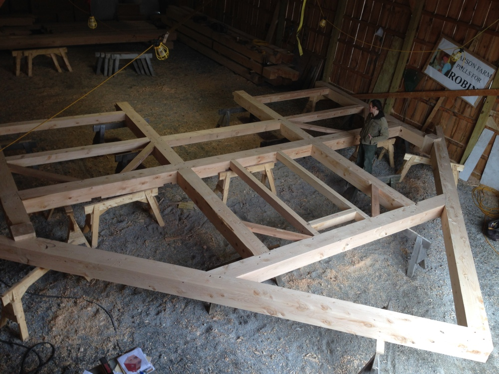 Timber frame bent assembled green mountain timber frames