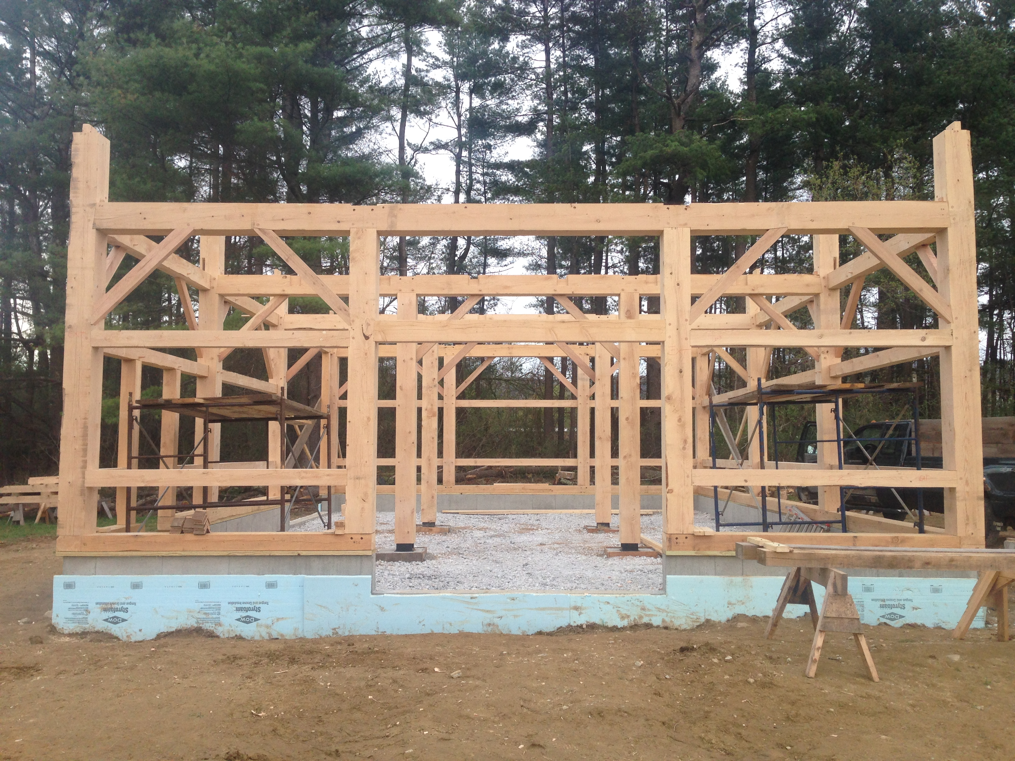 timber frame erected and pegged in Vermont