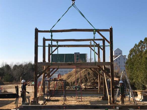 Bent three is set in place_Green Mountain Timber Frames