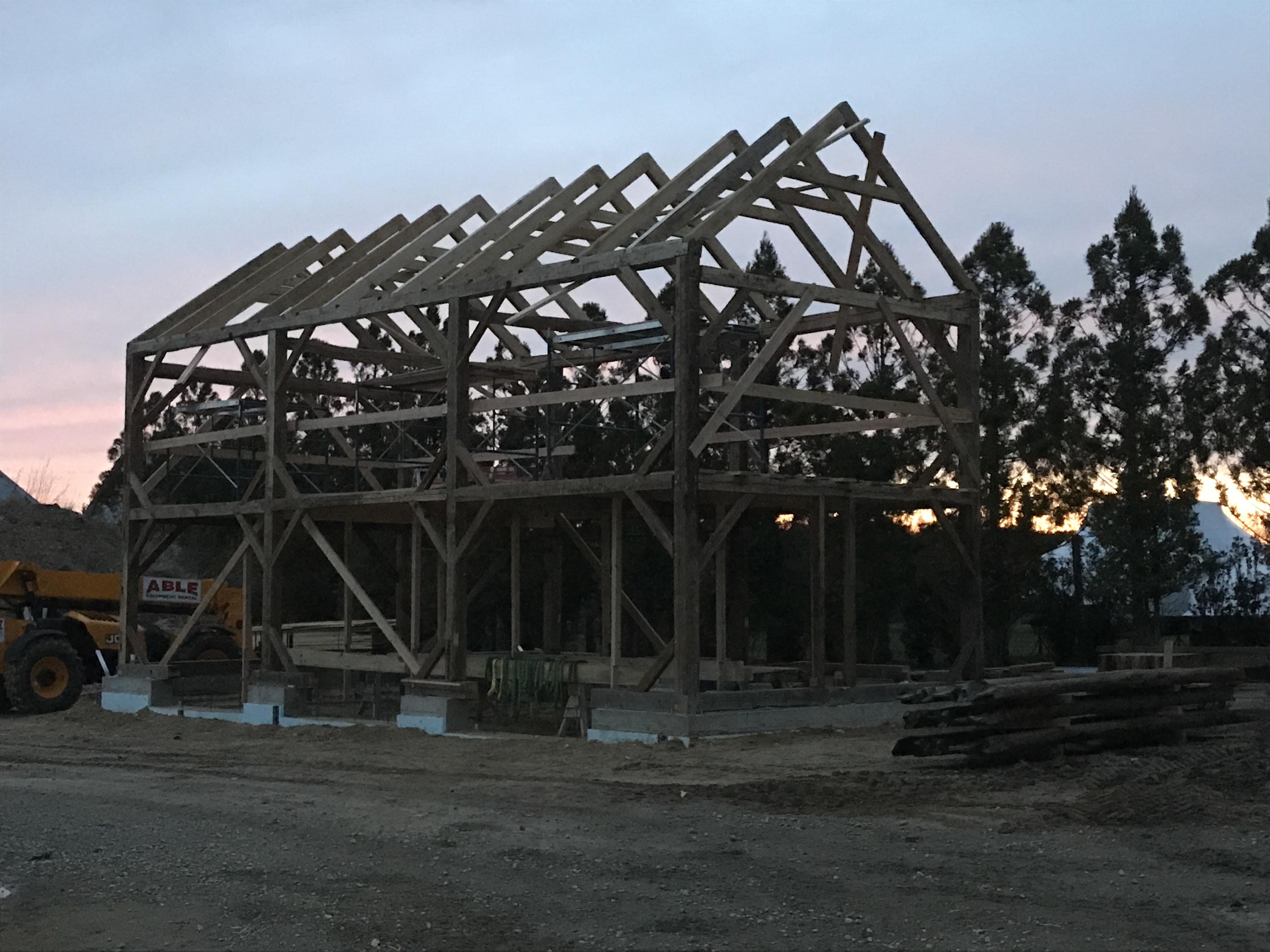carriage barn raising_Long Island_Green Mountain Timber Frames3