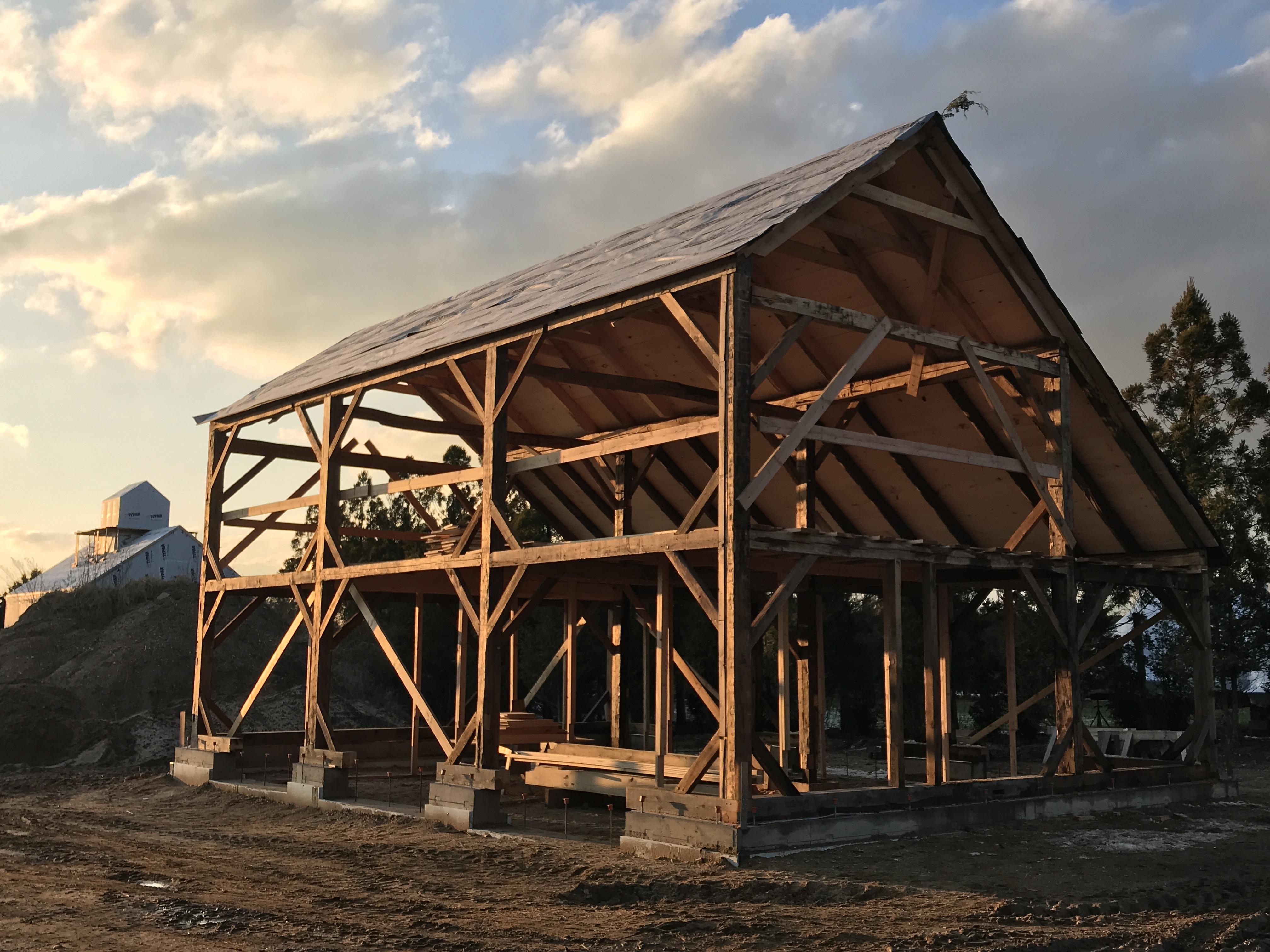 carriage barn raising_Long Island_Green Mountain Timber Frames_6