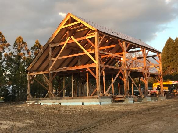 carriage barn raising_Long Island_Green Mountain Timber Frames_9