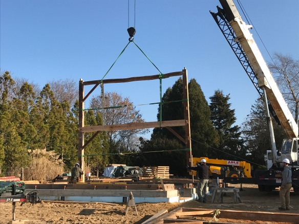 Raising the first Bent- Green Mountain Timber Frames