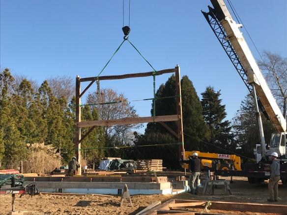 Raising the first Bent- Green Mountain Timber Frames