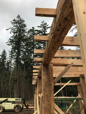 Overhand on 1780 historic barn frame