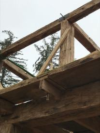 Reinforced wooden joinery on restored timber frame