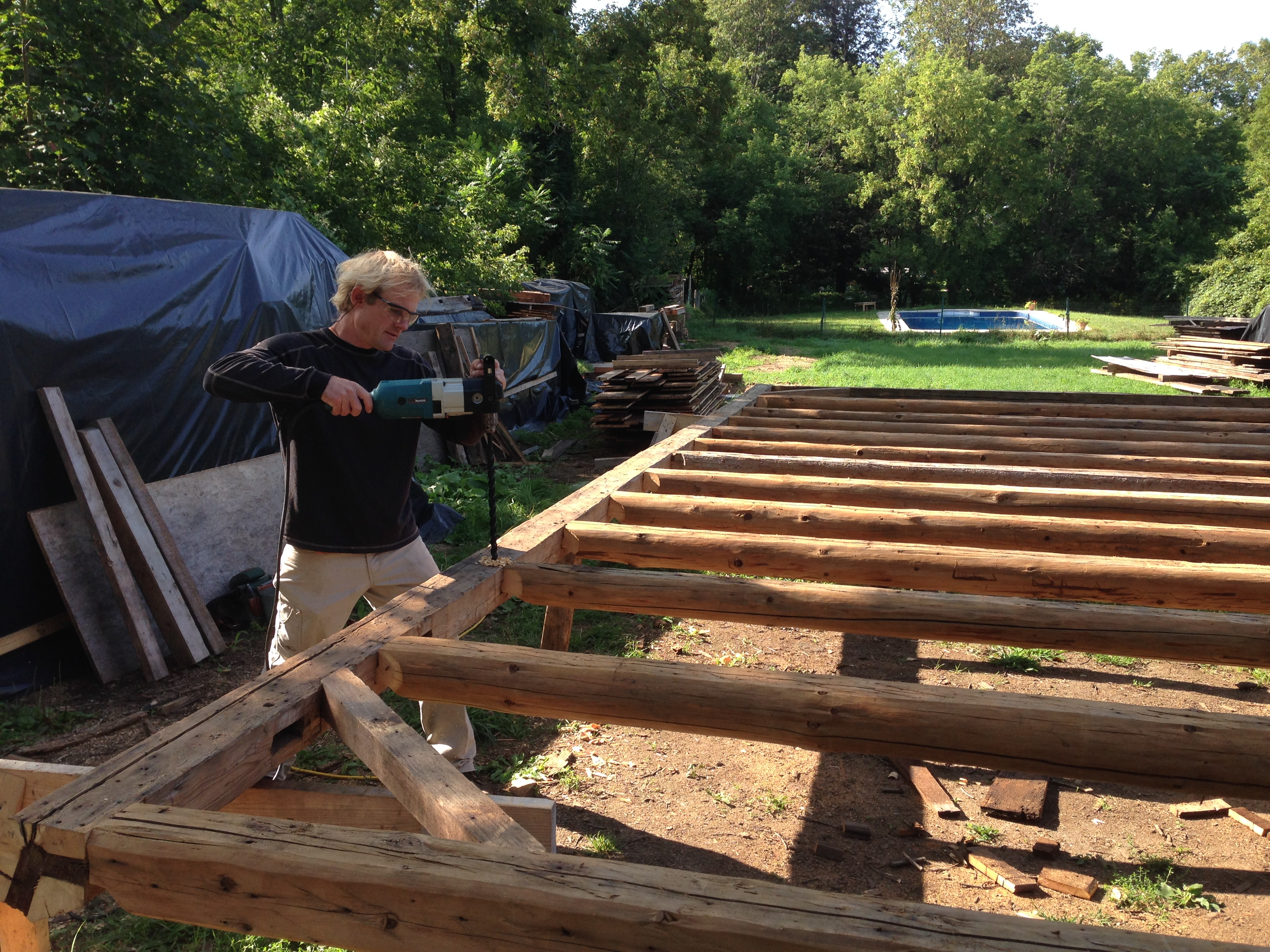 restored timber rafters | Green Mountain Timber Frames