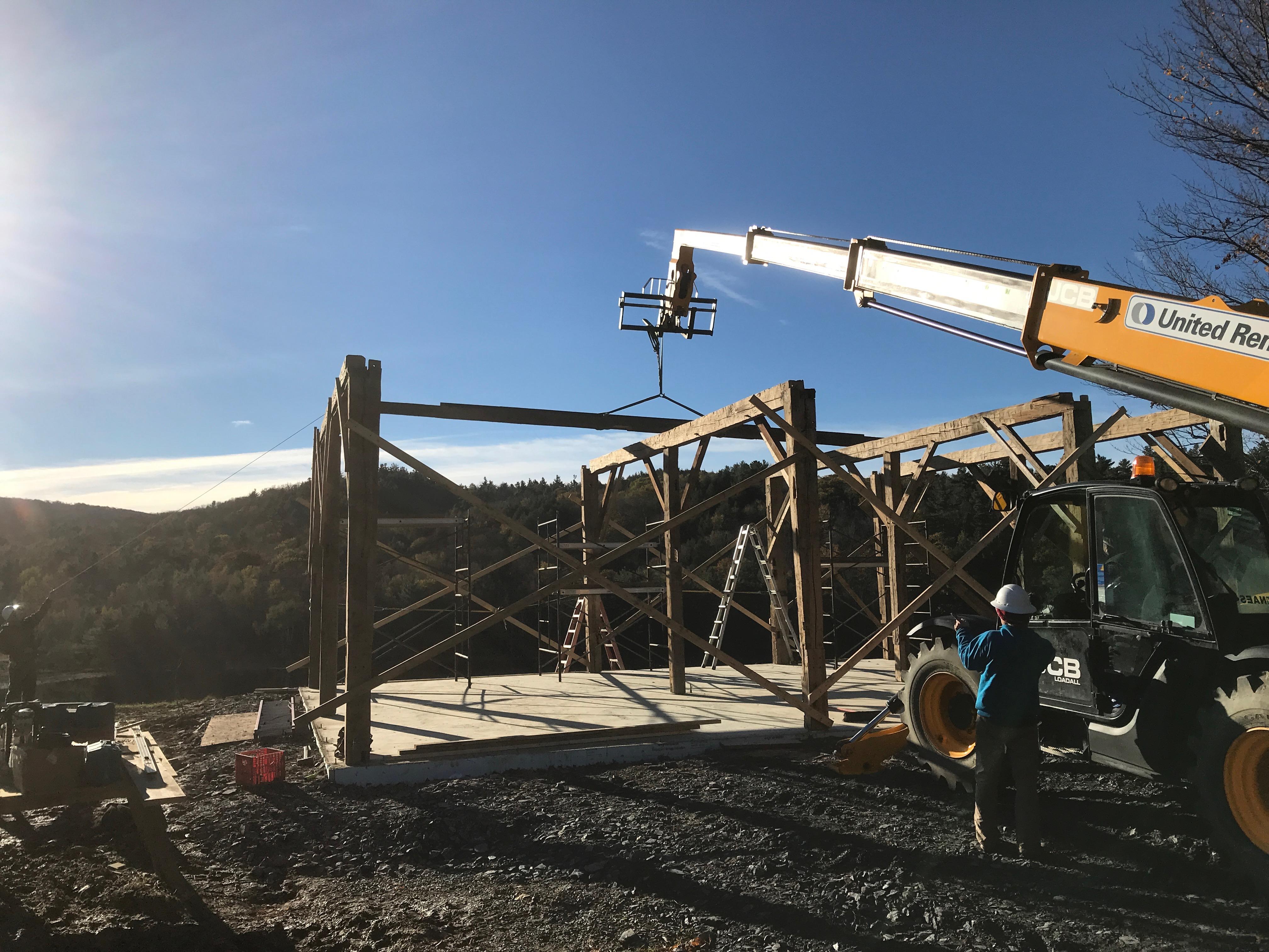 barn raising top plate green mountain timber frames