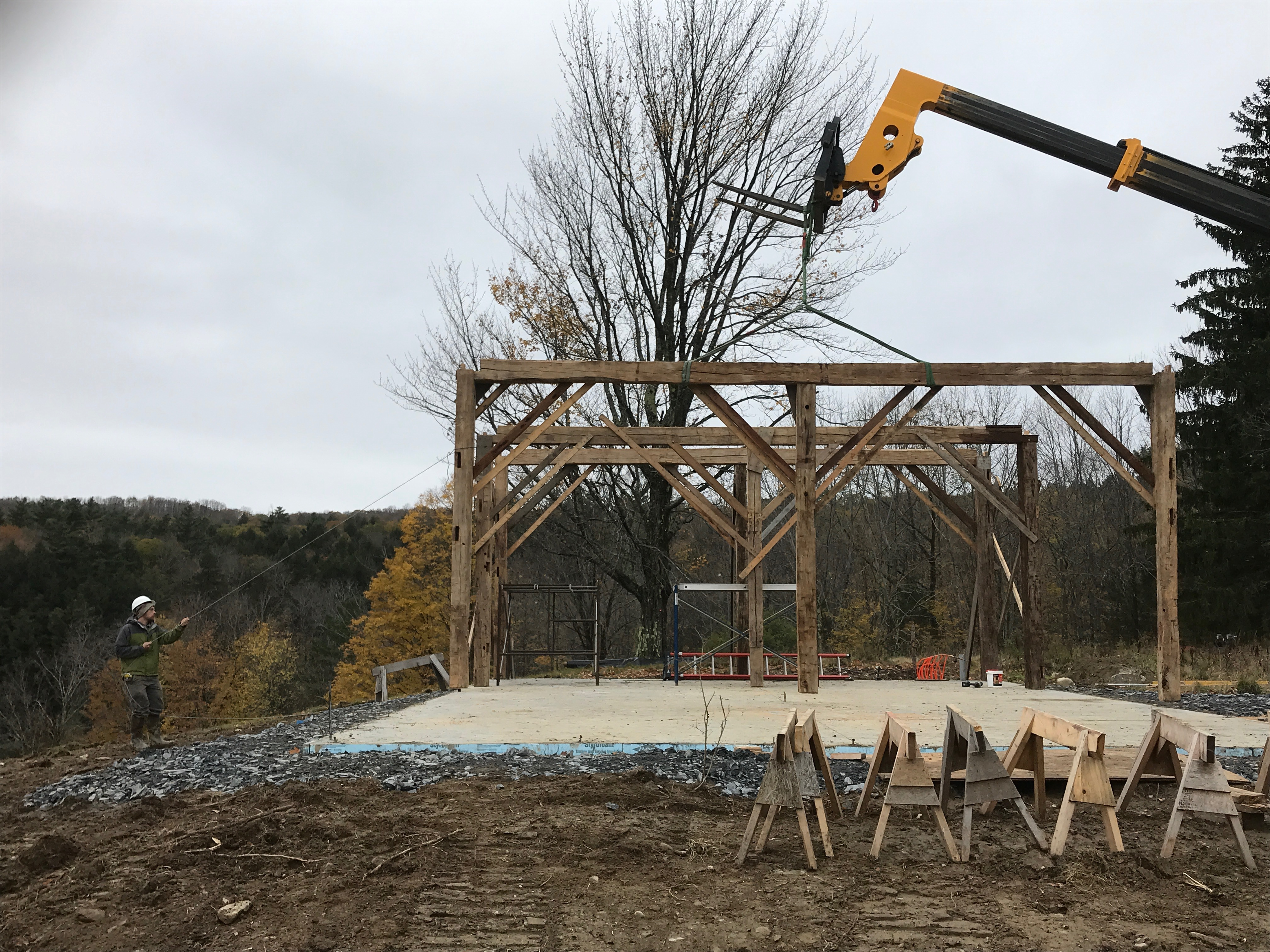 lifting a bent green mountain timber frames