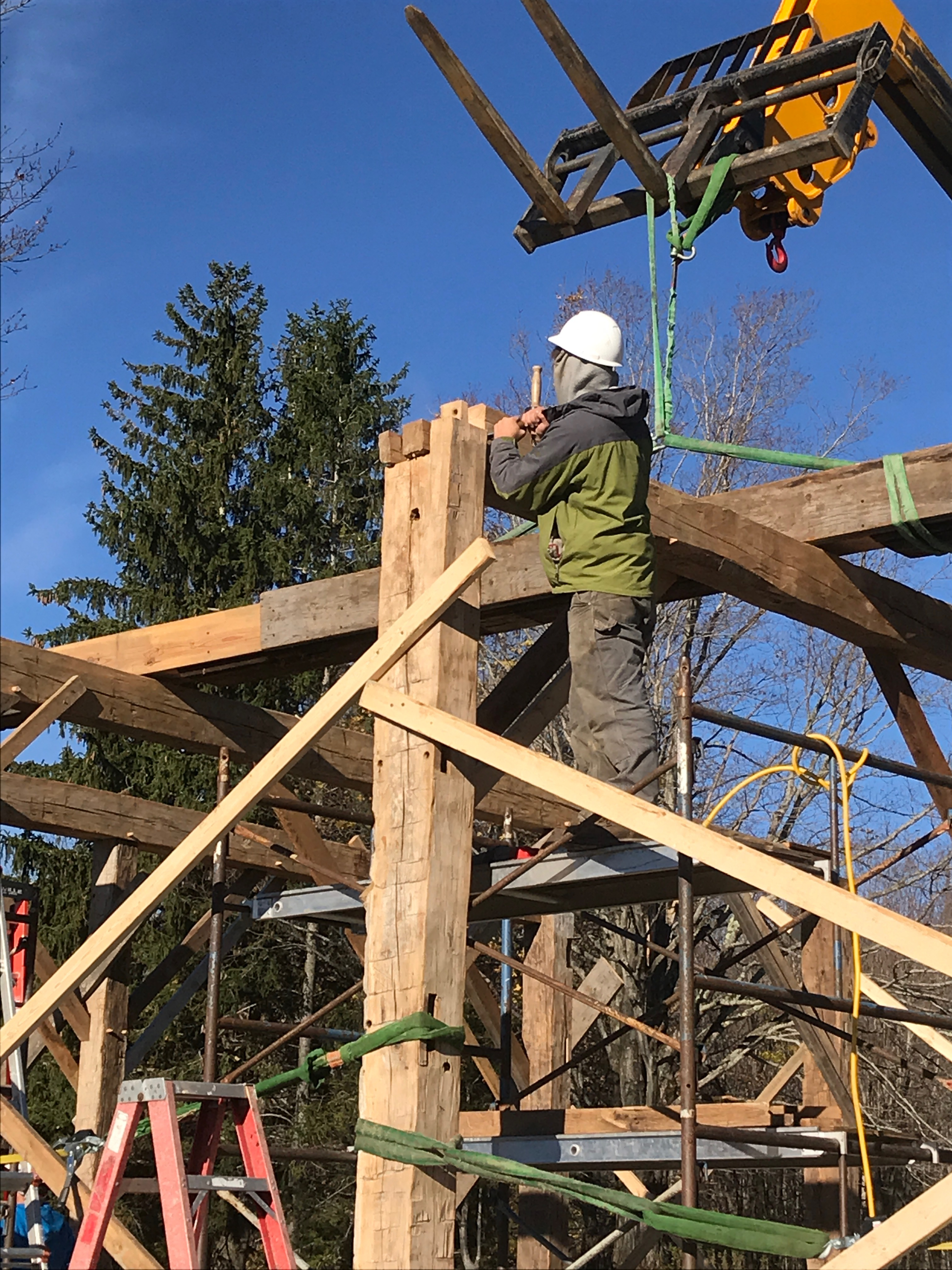 pegging a bent green mountain timber frames