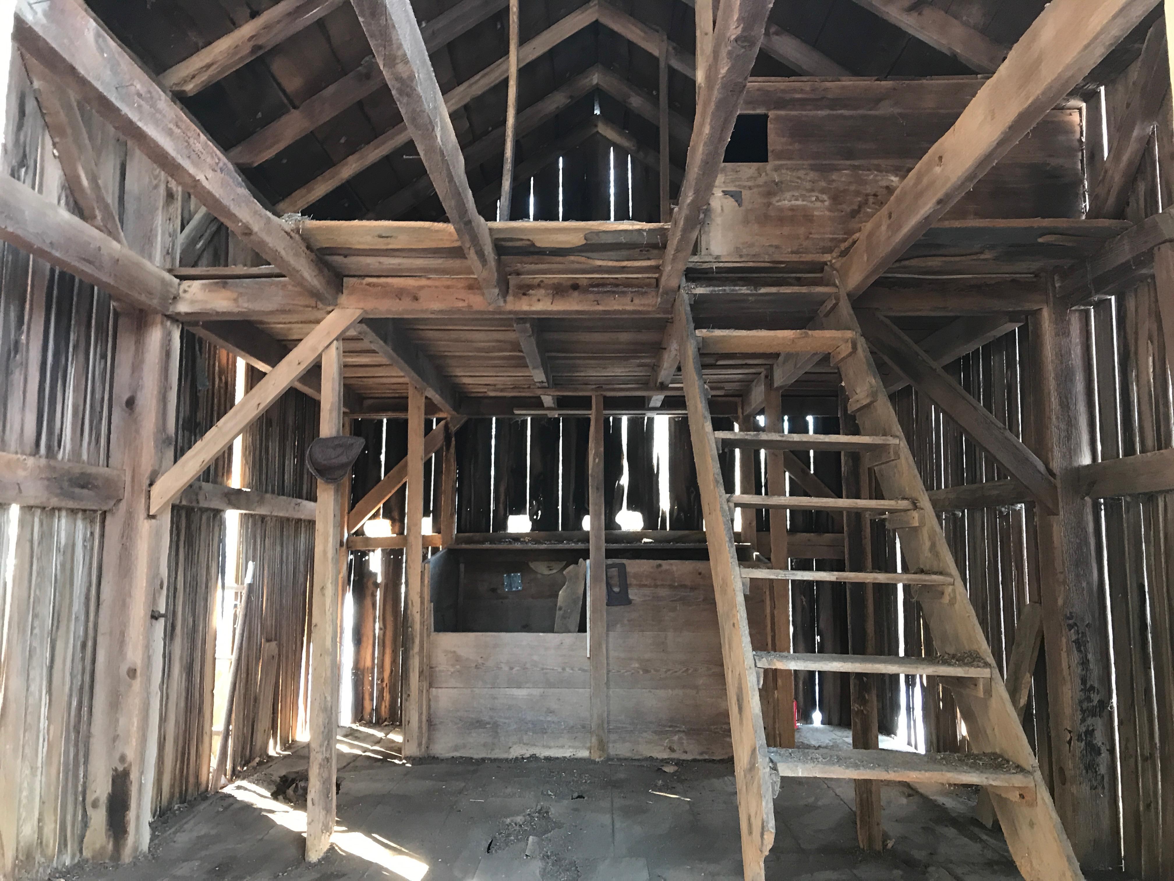 Interior photo of trapper's cabin vintage corn crib