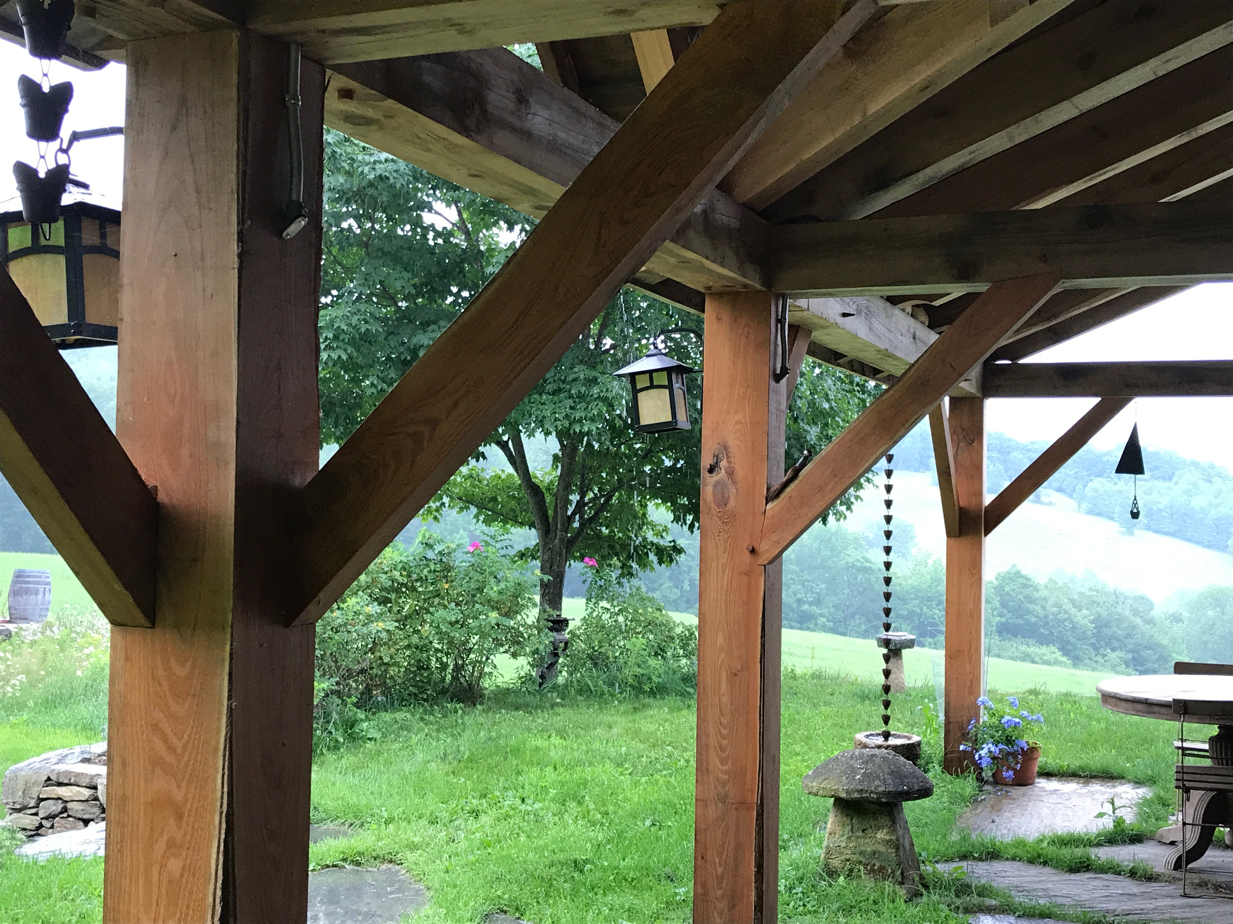 timber frame porch in Vermont Green Mountains