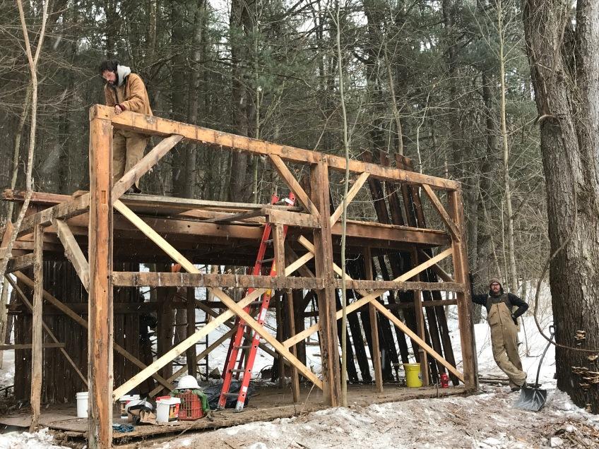 trapper cabin corn crib restoration