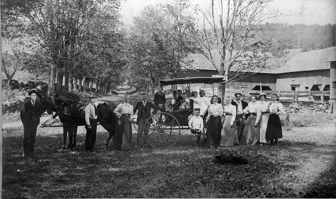 Daniels Farm family and barn circa 1898