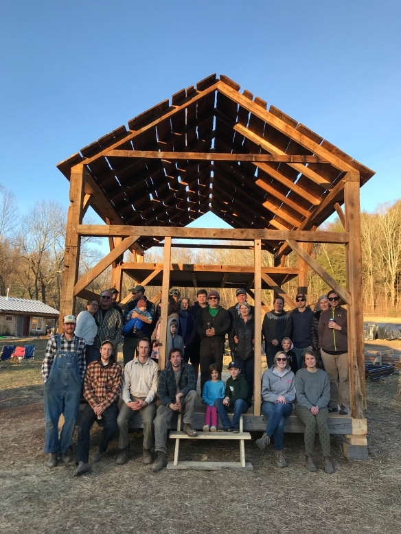 1790s timber frame barn and Green Mountain TImber Frames crew
