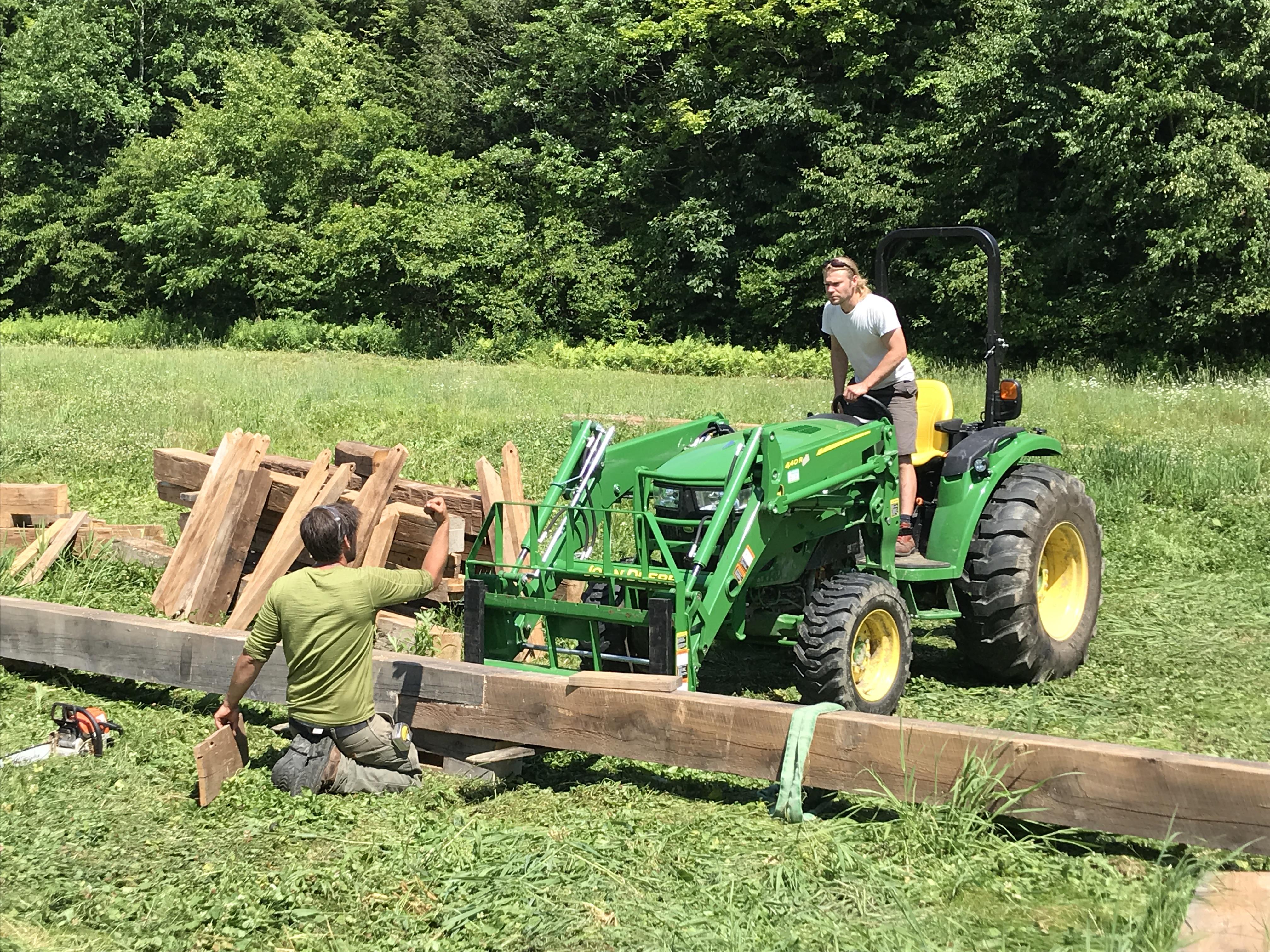 preparing 1790s timber frame for barn raising in Vermont