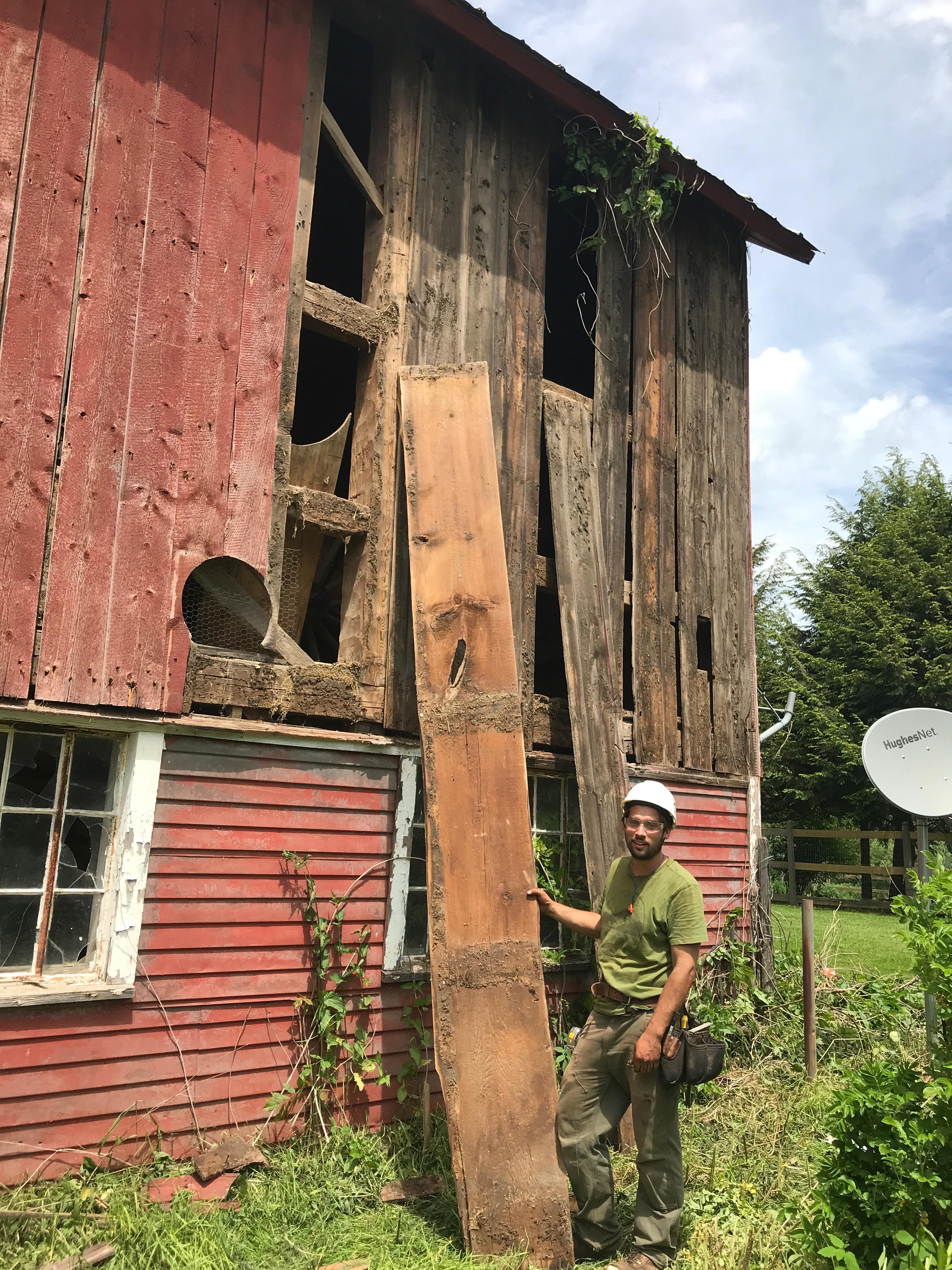 wide siding board on gunstock barn home