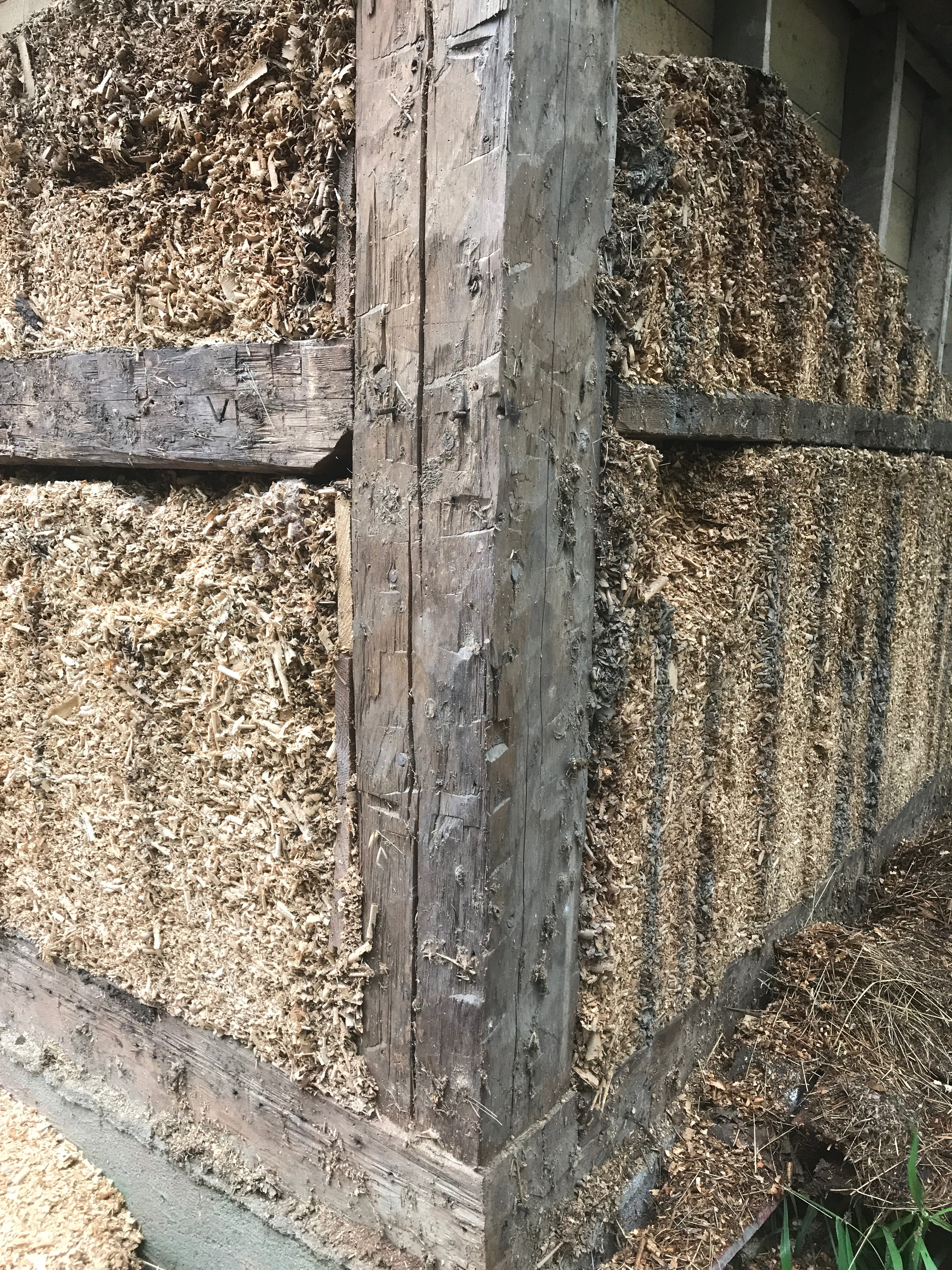 wood shaving insulation on historic barn