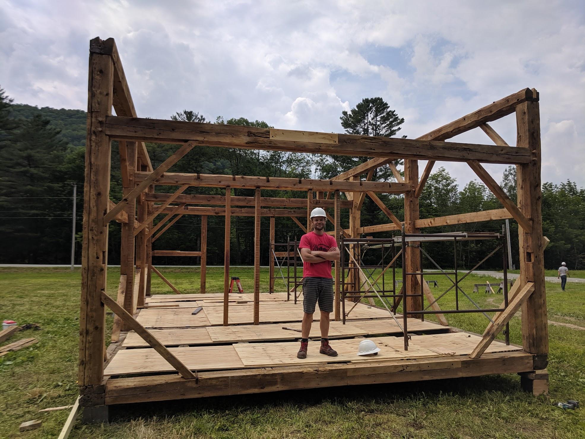 Green Mountain Timber Frames crew raising bents