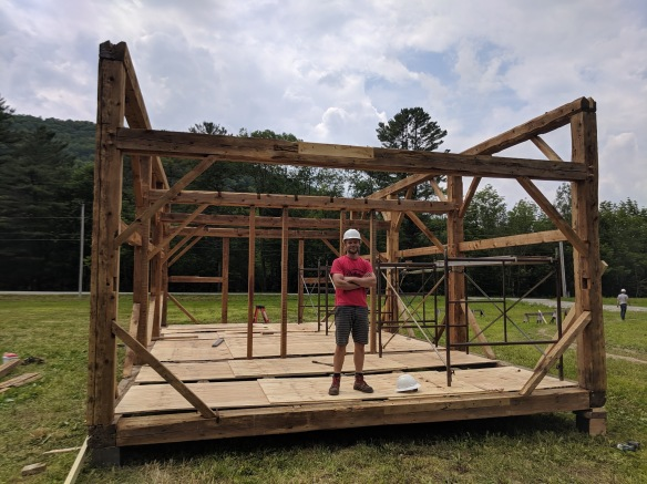 Green Mountain Timber Frames crew raising bents