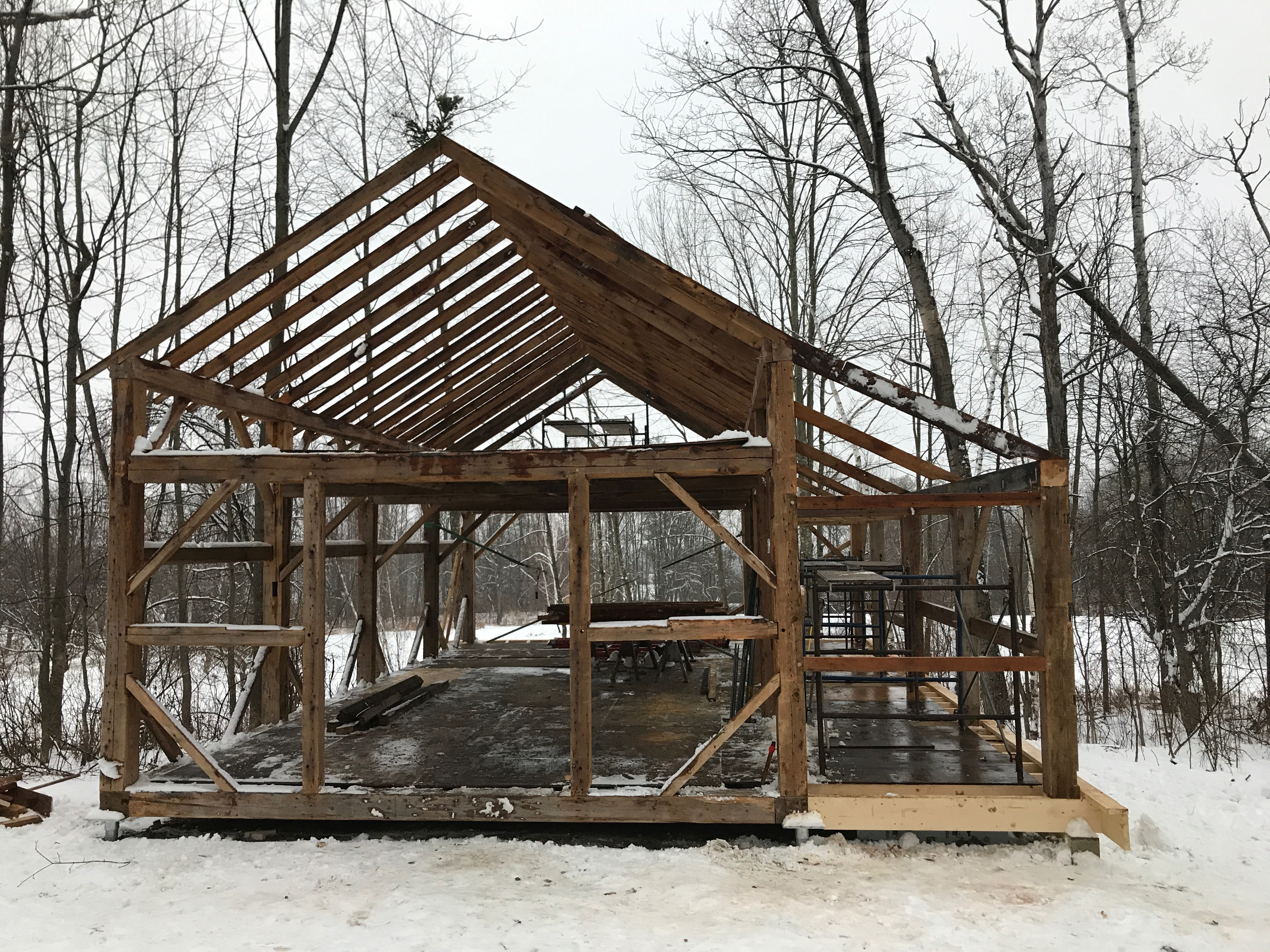 Atwater frame erected green mountain timber frames