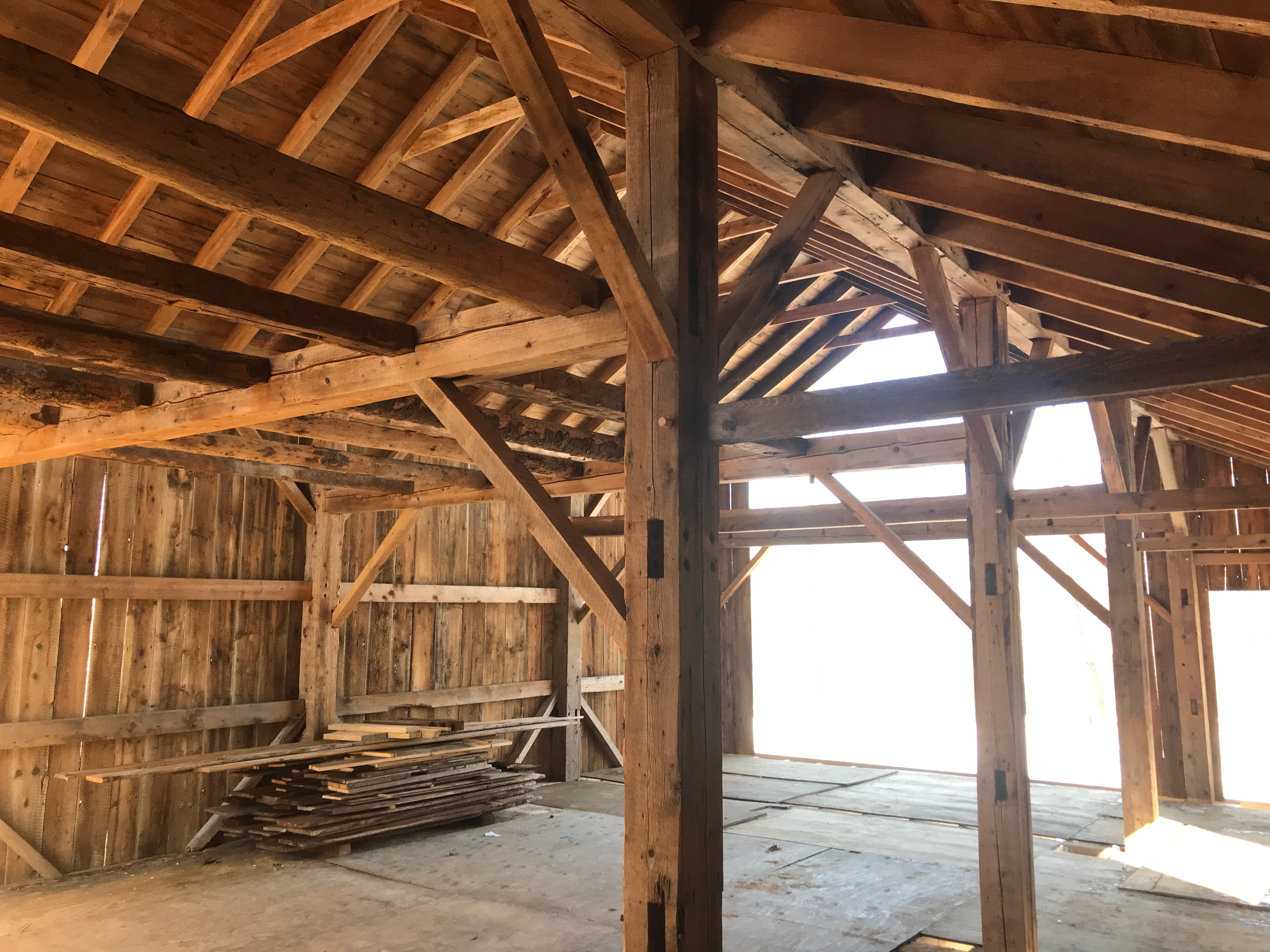 interior of Atwater barn home green mountain timber frames