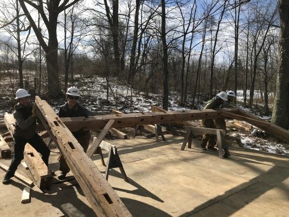 raising a bent atwater green mountain timber frames