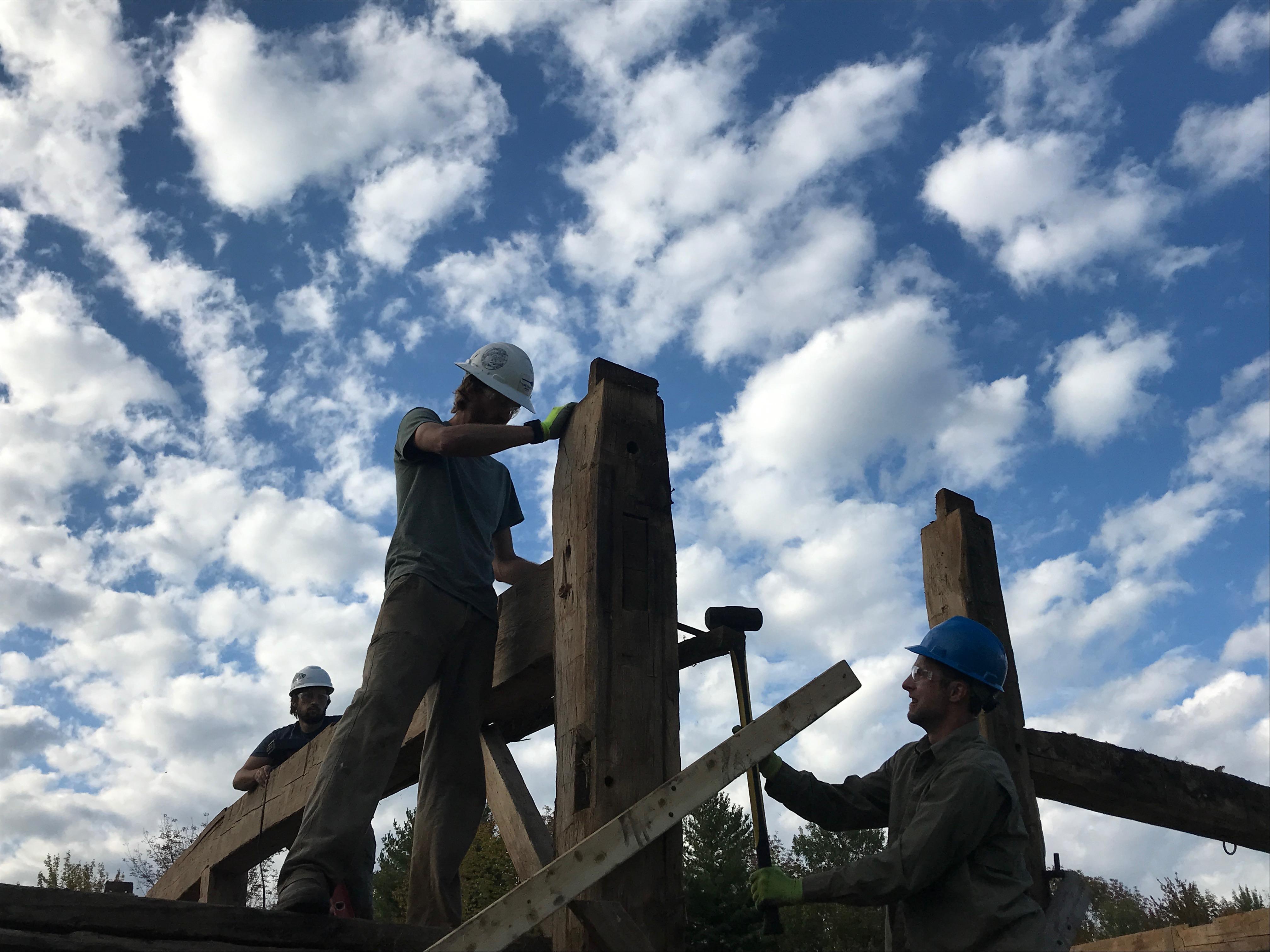 peg popping barn restoration Green Mountain Timber Frames